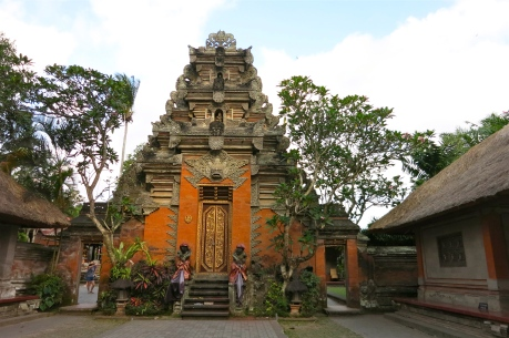 Amazing trees and plants perfect the magic atmosphere of the Puri Saren Palace in Ubud, Bali.