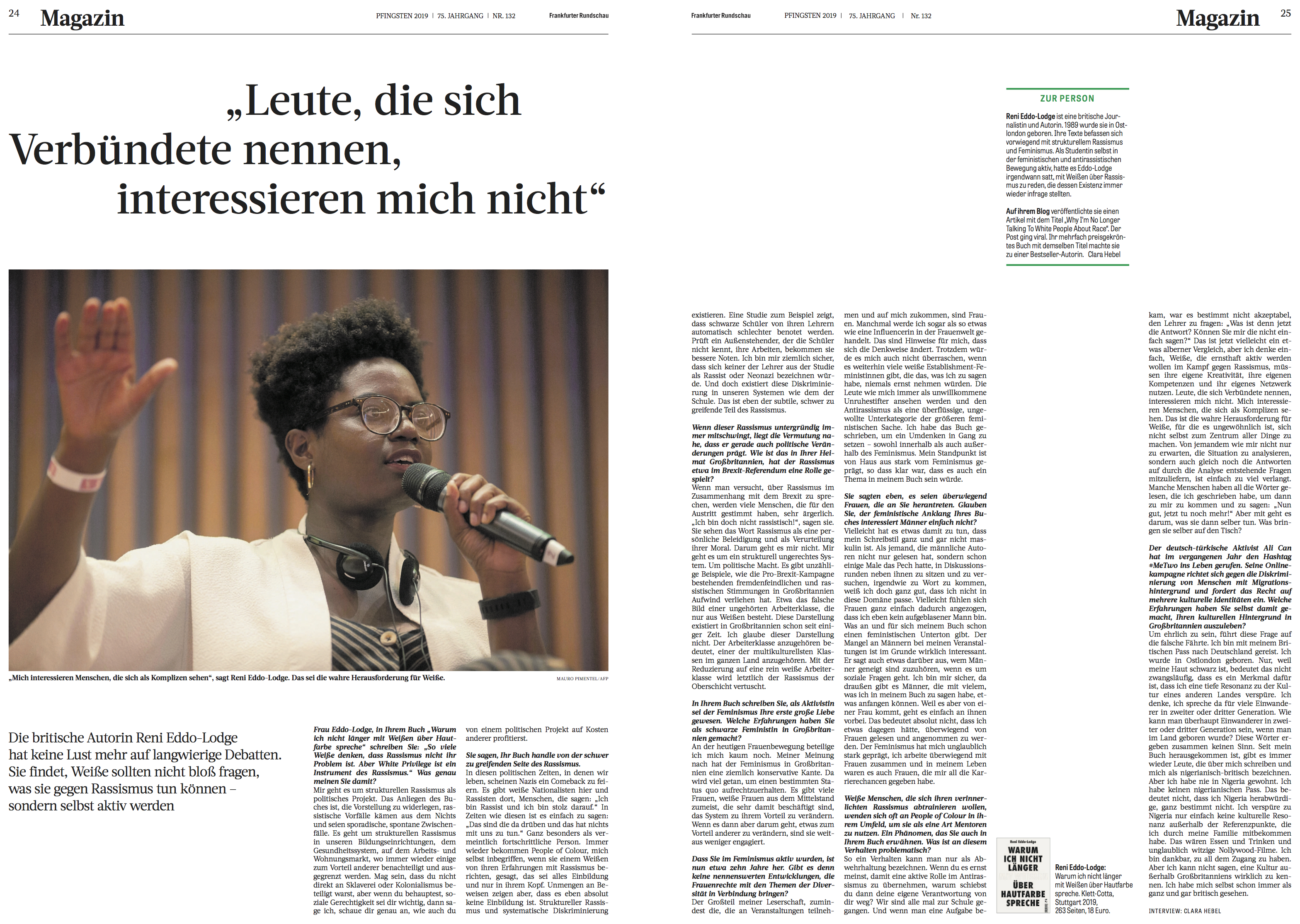 Interview Reni Eddo Lodge by Clara Hebel for Frankfurter Rundschau